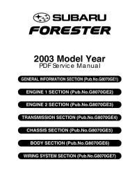 Service Manual Subaru Forester 2002-2008 г.