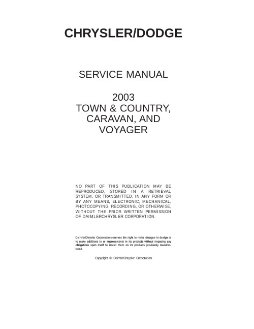 2007 dodge caravan service manual