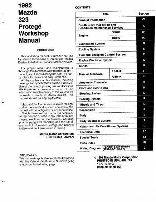 mazda protege 2001 workshop manual