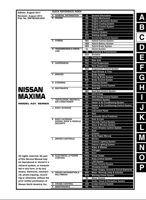 2001 Nissan Maxima Service Manual Pdf