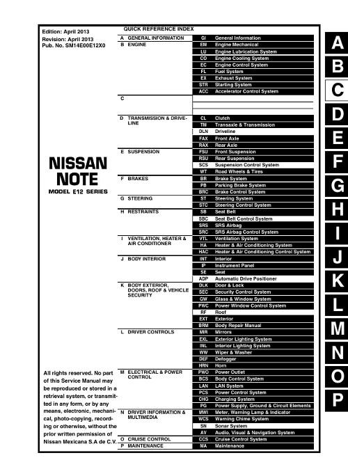 Скачать руководство по ремонту nissan note