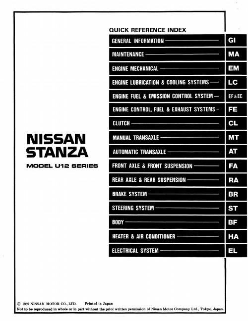nissan stanza t11 руководство по ремонту